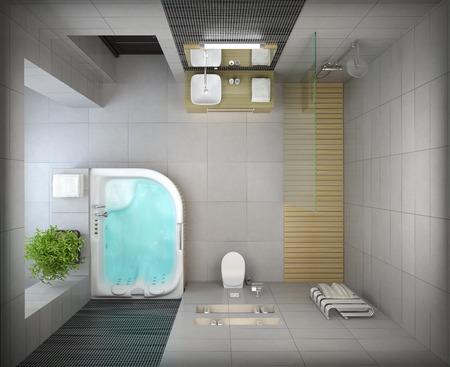 Interieur van het moderne design badkamer bovenaanzicht 3D-rendering