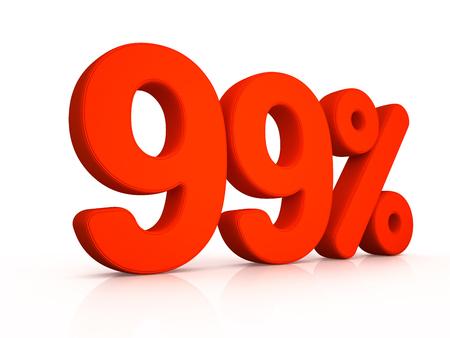 ninety: ninety nine percent simbol on white background 3D Stock Photo
