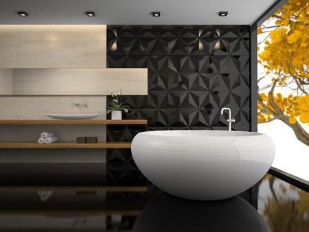 bathroom design: Interior of  stylish bathroom 3D rendering