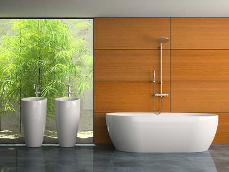 domestic room: Interior of the bathroom with plants 3D rendering