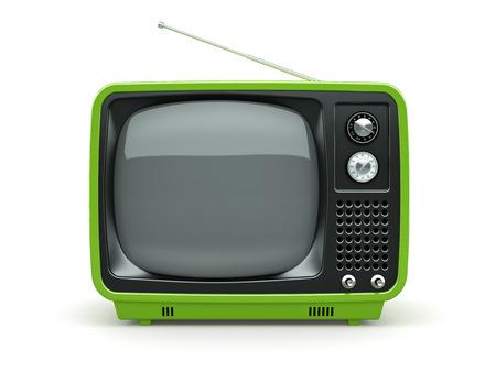 retro tv: Green retro TV on white background