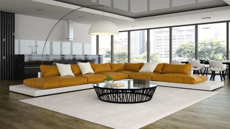 Interior modern design loft with orange sofa 3D rendering Standard-Bild