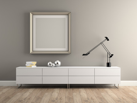 frame wall: Part of Interior modern design room 3D rendering Stock Photo