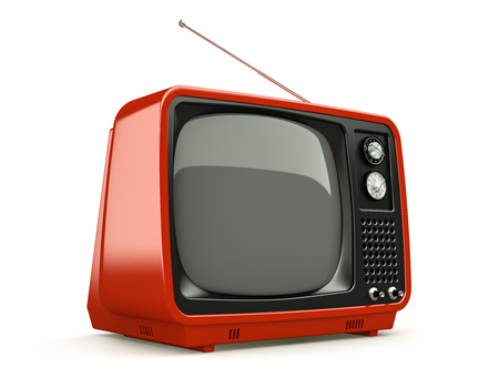 TV retro rojo aislado en el fondo blanco