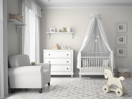 interior design: Classic children room in white color 3D rendering