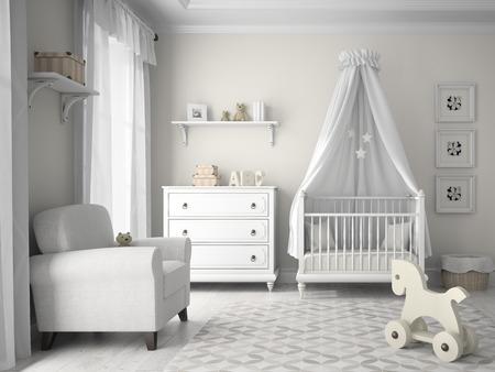 Classic kinderkamer in witte kleur 3D-rendering