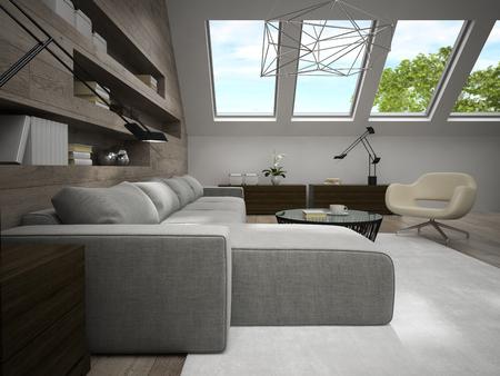 mansard: Interior of stylish mansard room 3D rendering Stock Photo