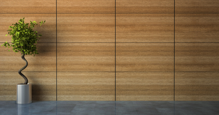 Empty room with wood wall 3D Stock Photo
