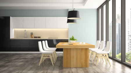 areas: Modern interior of dining room with white chairs 3D rendering Stock Photo