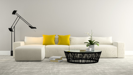 orchid house: Part of interior with whitw sofa and grey wall  3d rendering
