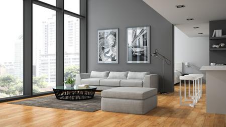 Interior of the modern design  loft with parquet fluur 3D rendering