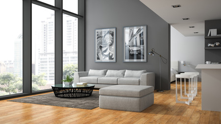 Interior of the modern design  loft with parquet fluur 3D rendering Stock Photo - 57655704