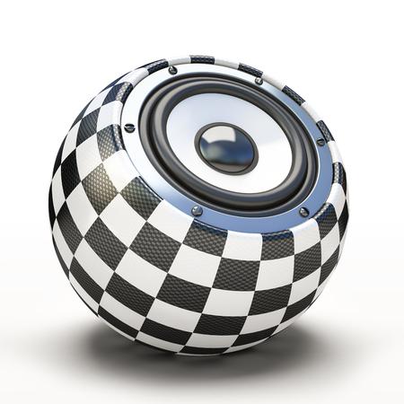 checkered volume: Blak and white spher speaker 3D