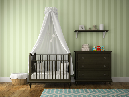 children room: Part of classic children room with cradle 3D rendering