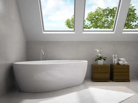 cupboards: Interior of modern bathroom with wooden cupboards 3D rendering