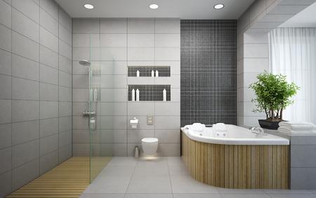 モダンなデザインの寝室の 3 D レンダリングのインテリア 写真素材