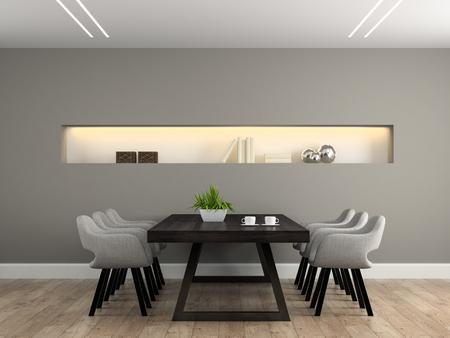 Modern interieur eetkamer met tafel 3D rendering
