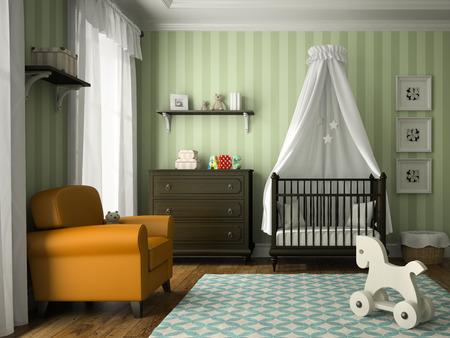 ecole maternelle: chambre d'enfants classique avec rayures vertes mur rendu 3D