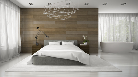 dream home: Interior of modern badroom with bathtube 3D rendering