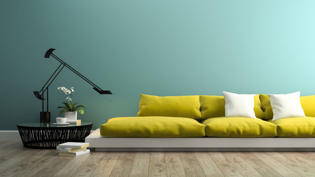 Part of interior with  modern yellow sofa 3d rendering Stock Photo