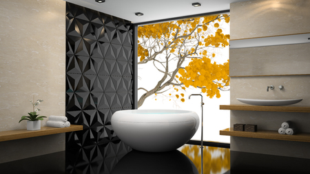domestic room: Interior of  stylish bathroom with orchid 3D rendering