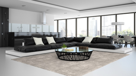 white interior: Interior modern design room with black and white sofas 3D rendering Stock Photo
