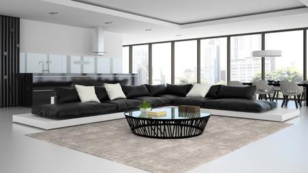 cucina moderna: Room interior design moderno con divani in bianco e nero il rendering 3D