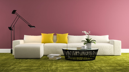 whitw: Part of interior with  modern whitw sofa and purple wall  3d rendering