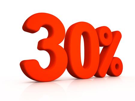 thirty: thirty percent simbol on white background 3D Stock Photo