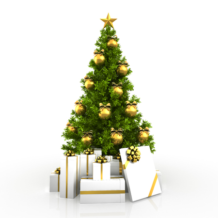 gold tree: Christmas tree winh gold decor isolated on white background Stock Photo