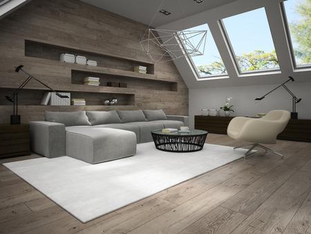 mansard: Interior of stylish mansard room 3D rendering 4 Stock Photo