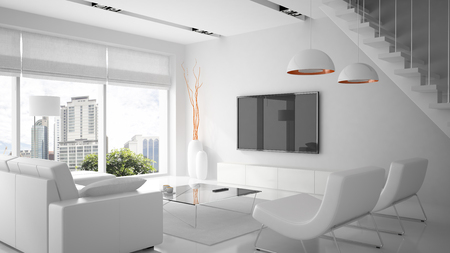 Modern interior in white color 3D rendering 스톡 콘텐츠