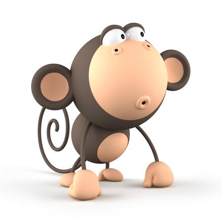 chinese ethnicity: Cartoon  monkey isolated on white background 3D rendering