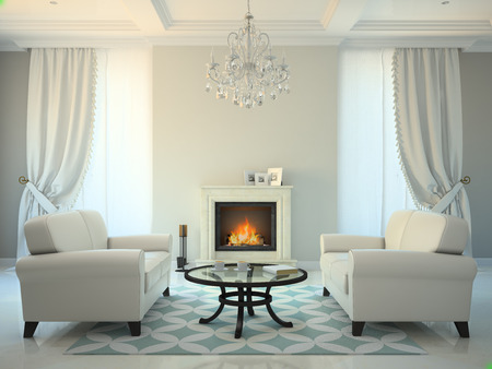 window shade: Classic style room with fireplace and white sofas 3D rendering Stock Photo