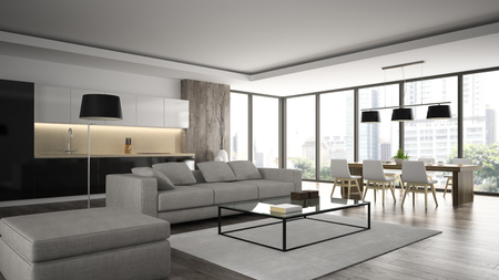 Interior of the modern design  loft  angle view 3D rendering 스톡 콘텐츠