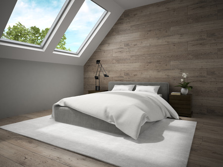 mansard: Interior of mansard badroom with wooden wall 3D rendering Stock Photo