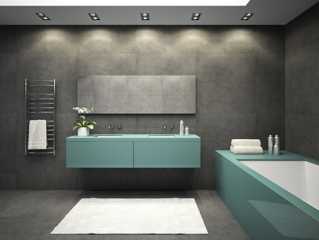 wall decor: Interior of bathroom with ceiling window 3D rendering