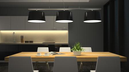 Noční pohled moderní interiér jídelny 3D vykreslování Reklamní fotografie