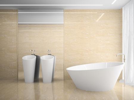bathroom tile: Interior of the modern design  bedroom in marble 3D rendering