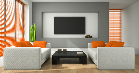 jalousie: Interior of the modern design room with orange jalousie 3D rendering Stock Photo