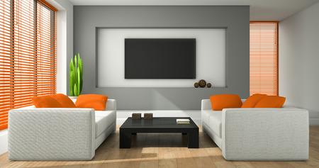 jalousie: Interior of the modern design room with orange jalousie 3D rendering Stock Photo