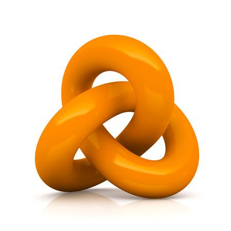 reverberation: Orange infinity knot isolated on white background