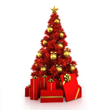 christmas gold: Red Christmas tree with gold decor on white background Stock Photo
