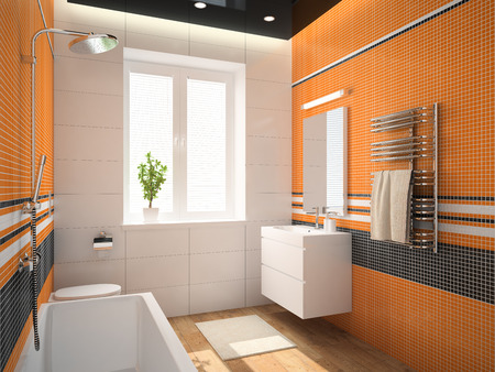 domestic bathroom: Interior of the bathroom with orange wall 3D rendering