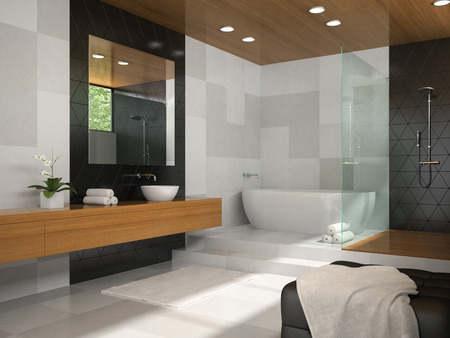 domestic room: Interior of  bathroom with wooden ceiling 3D rendering