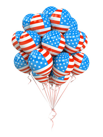 suffrage: Bunch of american flag balloons isolated on white background Stock Photo