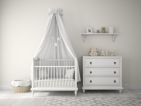 nursery room: Part of classic children room 3D rendering Stock Photo