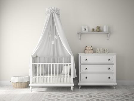 nursery: Parte de la habitación de los niños clásico representación 3D