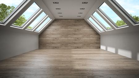 mansard: Empty mansard room with wooden wall 3D rendering Stock Photo