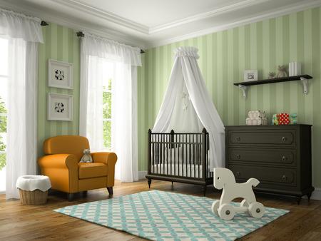 nacimiento bebe: habitación clásica niños con sillón amarillo representación 3D